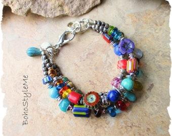 Boho Colorful Fun Beaded Bracelet, BohoStyleMe, Bohemian Jewelry, Free Style Modern Hippie Bracelet, Mixed Color