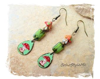 Boho Colorful Hand Painted Red Fairy Mushroom Earrings, Bohemian Jewelry, BohoStyleMe, Modern Hippie Chic Earrings