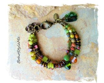Boho Style Rustic Green Forest Beaded Bracelet, Handmade Bohemian Bracelet, BohoStyleMe, Modern Hippie Chic  Bracelet