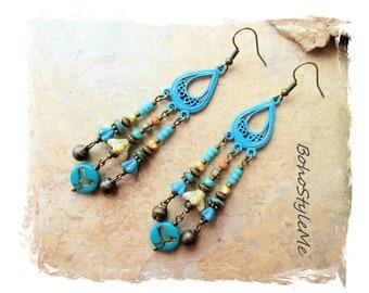 Boho Style Rustic Nature Inspired Earrings, Bohemian Jewelry, BohoStyleMe, Modern Hippie Earrings, Beaded Dangle Earrings