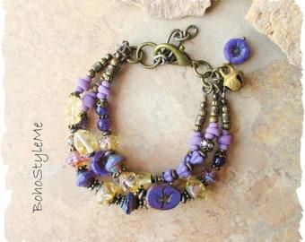 Boho Spring Flower Beaded Bracelet, Hyacinth and Lilac, Bohemian Chic Jewelry, BohoStyleMe, Amethyst Gemstone Bracelet