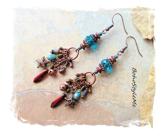 Rustic Boho Long Beaded Dangle Assemblage Earrings, Bohemian Earrings, BohoStyleMe, Modern Hippie Chic Earrings