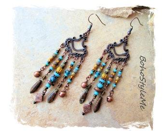 Boho Style Me Long Beaded Chandelier Earrings, Bohemian Jewelry, BohoStyleMe, Rustic Tribal Colorful Earrings, Modern Hippie