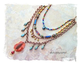 Bohemian Necklace, Gemstone Beaded Boho Style Pendant Necklace, BohoStyleMe, Handmade Modern Hippie Jewelry, Creative Art Jewelry