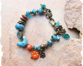 Boho Colorful Fun Beaded Bird Bracelet, Bohemian Jewelry, BohoStyleMe, Whimsical Bird, Gift for Bird Lover