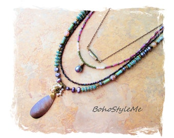 Bohemian Necklace, Boho Style Layered Pearl Necklace, Peacock Colors, BohoStyleMe, Modern Hippie Chic, Boho Fashion