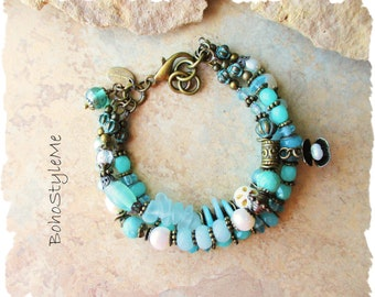 Boho Aqua Blue Ocean Beaded Bracelet, Bohemian Jewelry, BohoStyleMe, Beach Wedding Jewelry, Sand and Surf Seaside
