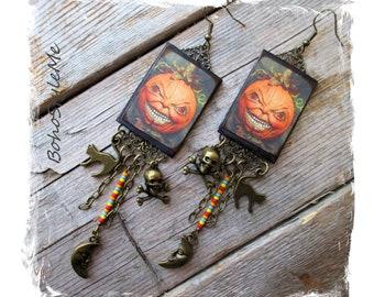 Halloween Earrings, Long Beaded Scary Jack-O- Lantern Earrings, Bohemian Jewelry, BohoStyleMe, Handcrafted Creepy Earrings