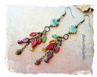 Bohemian Fall Leaves Beaded Earrings, Boho Style Handmade Earrings, BohoStyleMe, Fun Colorful Earrings, Modern Hippie