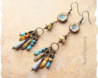 Boho Beaded Turquoise and Sand Earrings, Bohemian Jewelry, BohoStyleMe, Handmade Boho Style Earrings, Modern Hippie Chic