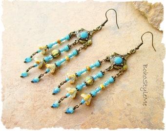Boho Long Handmade Flower Earrings, Turquoise and Sand, Bohemian Jewelry, BohoStyleMe, Boho Fashion, Modern Hippie Jewelry