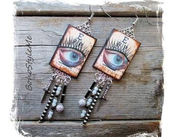 Halloween Earrings, Long Beaded Dagger Eyes Earrings, Bohemian Jewelry, BohoStyleMe, Handcrafted Optometrist Earrings