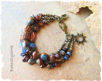 Boho Rustic Tribal Beaded Bracelet, Bohemian Jewelry, BohoStyleMe, Free Style Modern Hippie Jewelry, Global Chic Jewelry