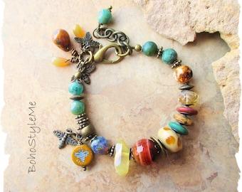 Boho Style Nature Inspired Honey Bee Beaded Bracelet, Bohemian Jewelry, BohoStyleMe, Save The Bee's Statement Jewelry