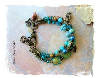 Bohemian Jewelry, BohoStyleMe, Teal and Green Stone Glass Beaded Global Chic Hippie Style Bracelet, Boho Beaded Nature Bracelet