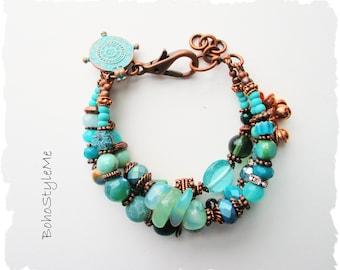 Bohemian Bracelet, BohoStyleMe, Ocean Nature Inspired Bracelet, Handmade Blue Green Chunky Beaded Bracelet, Modern Hippie