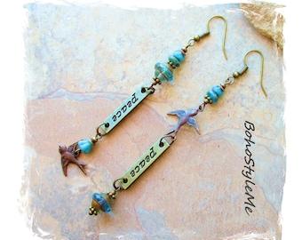 Long Asymmetrical Earrings Mismatch Earrings, Bird of Peace, Boho Assemblage Earrings, Bohemian Jewelry, BohoStyleMe