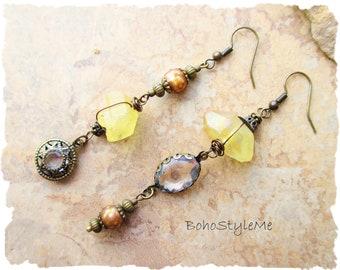 Mellow Yellow Asymmetrical Crystal Earrings, Boho Beach Wedding Earrings, Star Earrings, Bohemian Jewelry, BohoStyleMe