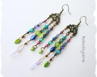Boho Style Colorful Asymmetrical Beaded Earrings, BohoStyleme, Bohemian Jewelry, Modern Hippie Earrings, Peacock Colors