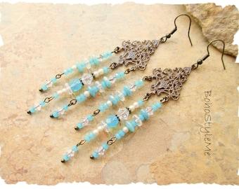 Bohemian Wedding, Boho Bridal Jewelry, White Vintage Style Pearl and Crystal Assemblage Earrings, BohoStyleMe, Bohemian Jewelry