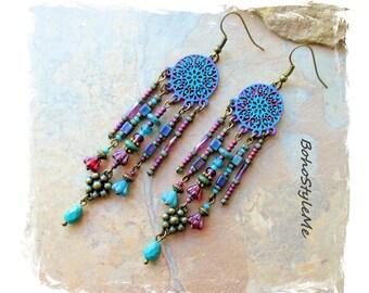 Boho Free Style Beaded Earrings, Bohemian Jewelry, BohoStyleMe, Handmade Boho Style Earrings, Modern Hippie  Earrings