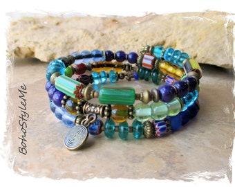 Boho Colorful Fun Beaded Bracelet, Bohemian Jewelry, BohoStyleMe, Memory Wire Bracelet, Modern Hippie, Handmade Bracelet