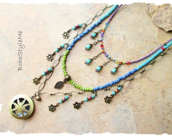 Boho Colorful Fun Beaded Necklace, Bohemian Jewelry, BohoStyleMe, Free Style Modern Hippie Necklace, Mixed Color Necklace