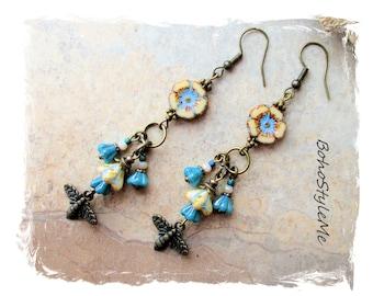 Boho Nature Beaded Flower and Honey Bee Earrings, Bohemian Jewelry, BohoStyleMe, Modern Hippie Chic Fashion