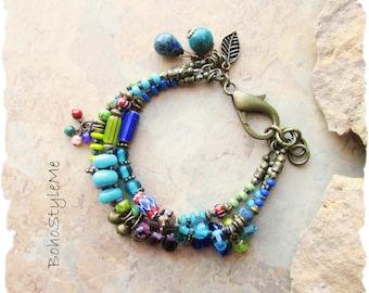 Boho Style Colorful Beaded Bracelet, BohoStyleMe, Bohemian Jewelry, Modern Hippie Bracelet, Bold Vibrant Peacock Colors