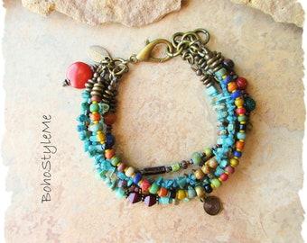 Boho Beaded Natural Rustic Gemstone Bracelet, Bohemian Jewelry, BohoStyleMe, Mixed Colors, Modern Hippie Chic