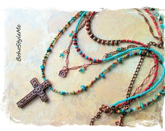 Boho Style Me Colorful Beaded Multiple Strands Turquoise Copper Cross Necklace, BohoStyleMe, Modern Hippie Artisan Necklace