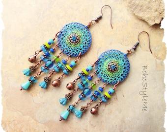 Boho Colorful Fun Beaded Earrings, Bohemian Jewelry, BohoStyleMe, Handmade Boho Style Earrings, Modern Hippie Chic