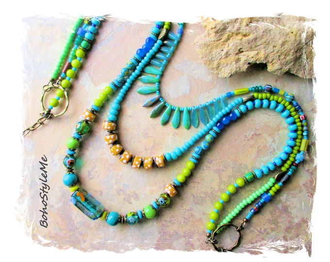 Featured listing image: Bohemian Necklace, Boho Style Me Colorful Funky Beaded Necklace, Modern Hippie Jewelry, BohoStyleMe, Green and Blue