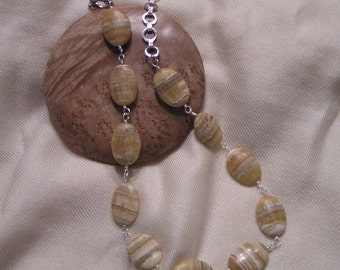 Yellow Striped Agate Necklace
