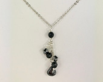 Black Spinel, black onyx and graphite on sterling silver necklace