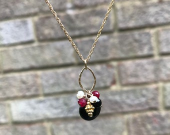 Black Onyx, ruby and pearl gold necklace