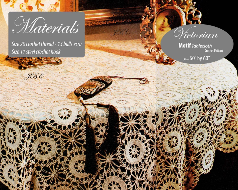 Victorian Round Tablecloth Crochet Pattern Lace Motif Tc121 Etsy