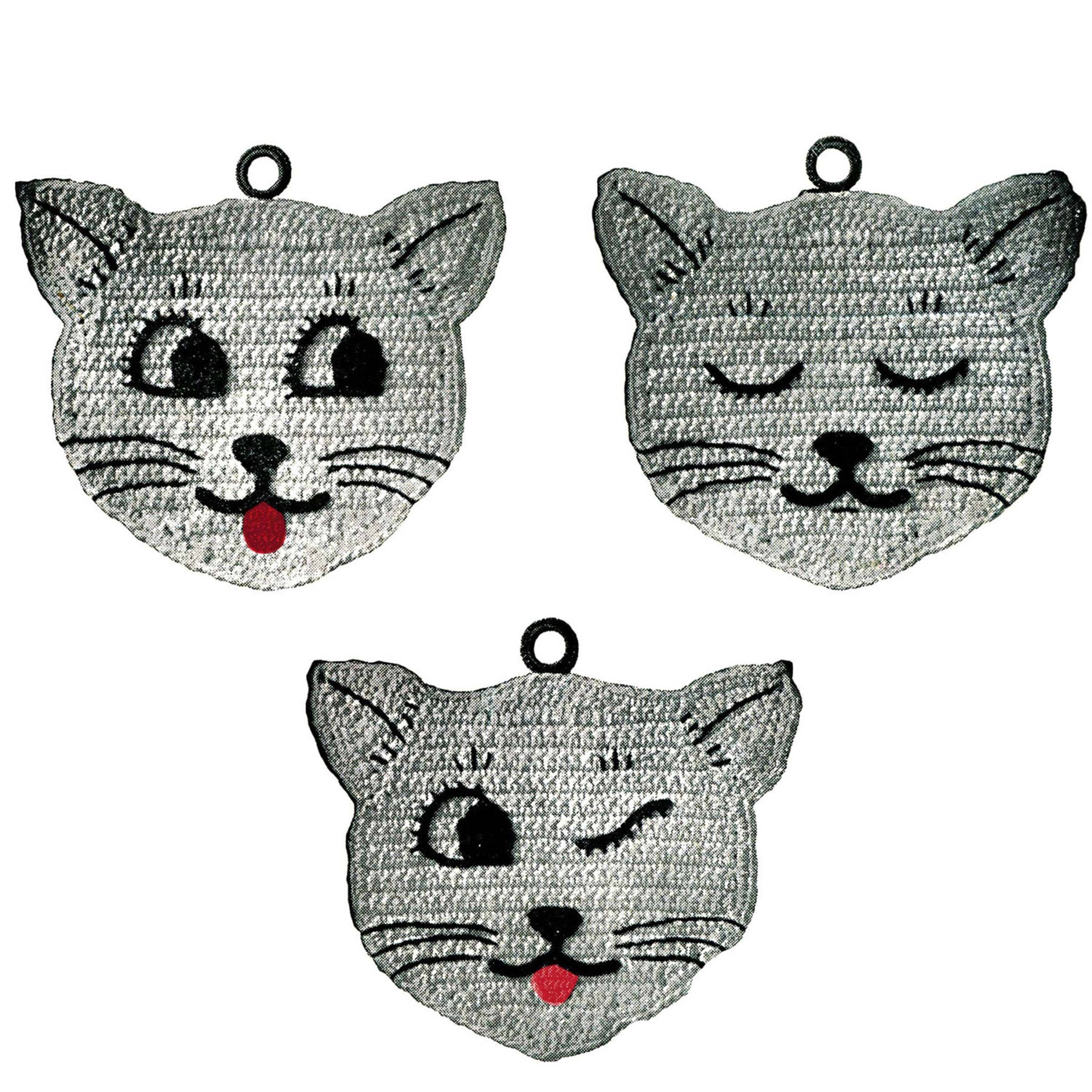 Three Little Kittens Vintage Crochet Pattern Kitty Potholder Etsy