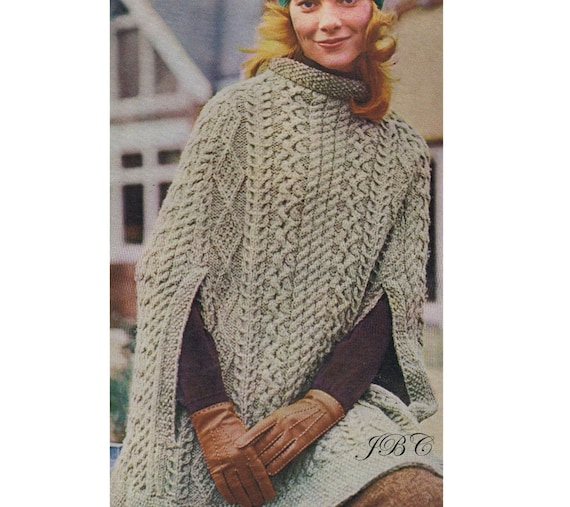 Aran Cape Pattern Poncho Knitting Pattern Irish Cape Knee | Etsy