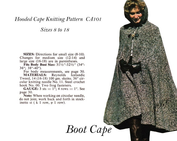 Cape Pattern Hooded Boot Cape Knitting Pattern Pdf Ca101 Etsy