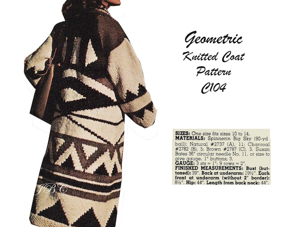 Geometric Knitted Coat Pattern Coat Knitting Pattern Vintage Etsy