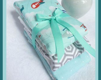 Fly Baby Boy Burp Cloths in Mint Green and White Diaper Bag Accessory for Newborn Baby Boy FAST SHIPPING