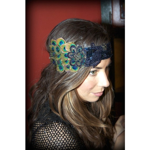 Kat Swank One-Of-A-Kind Peacock Headband w/ Upcycled Vintage Elements- Made to Order- Beading is always different, colors the same.