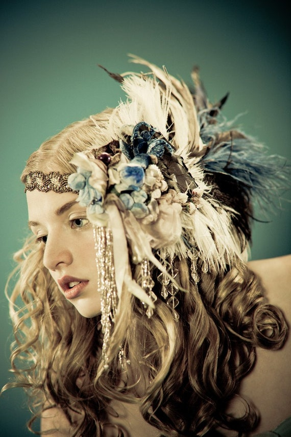 Kat Swank Custom Headdress Headband- Heirloom quality, wearable textile art- Your colors. LIAISON