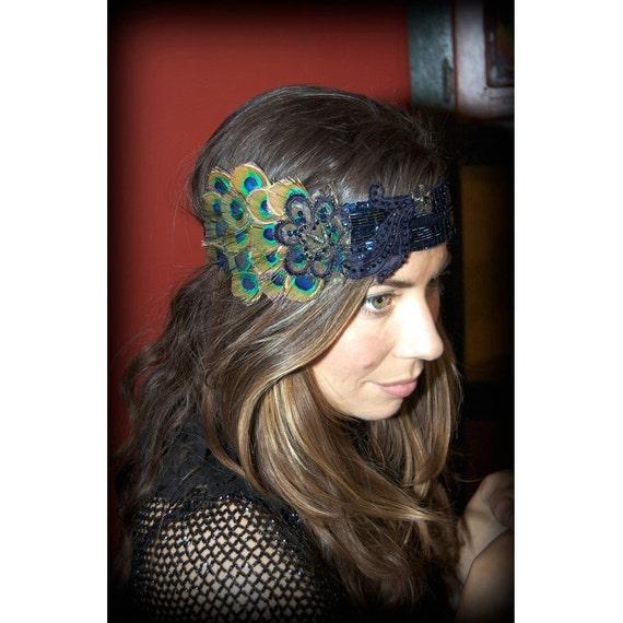 Lise-Marie, Custom Headband (black with peacock feathers).