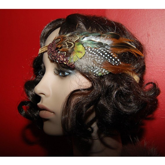 Kat Swank HEADBAND with Vintage Brown Velvet, Repurposed Upcycled Applique and Modern Feathers -OOAK- Made to Order