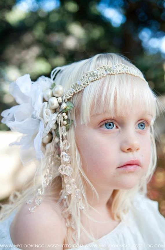 The Tiny Tot Mini Alana Headdress by Kat Swank. Custom Made to Order, Vintage Materials- Your Colors- A head piece fit for a Princess.