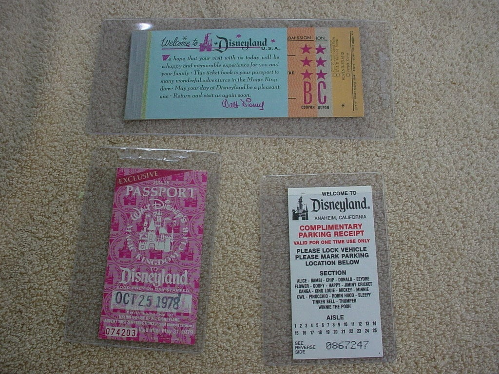 1959 + 1978 disneyland vintage tickets + free 1939 Mickey Mouse daily  newspaper strip