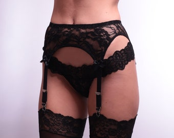 White or Black Stretch Lace Garter Belt with Sequins