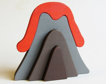Wooden Volcano Stacker Waldorf Toy Eco-friendly